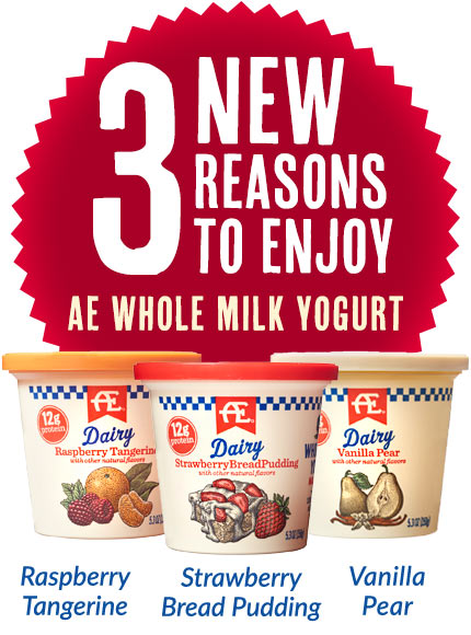3 new reasons to enjoy AE Whole Milk Yogurt: Raspberry Tangerine, Strawberry Bread Pudding, Vanilla Pear