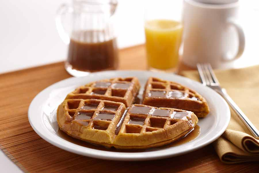Pumpkin Sour Cream Waffles with Buttermilk Syrup - AE Dairy Recipes